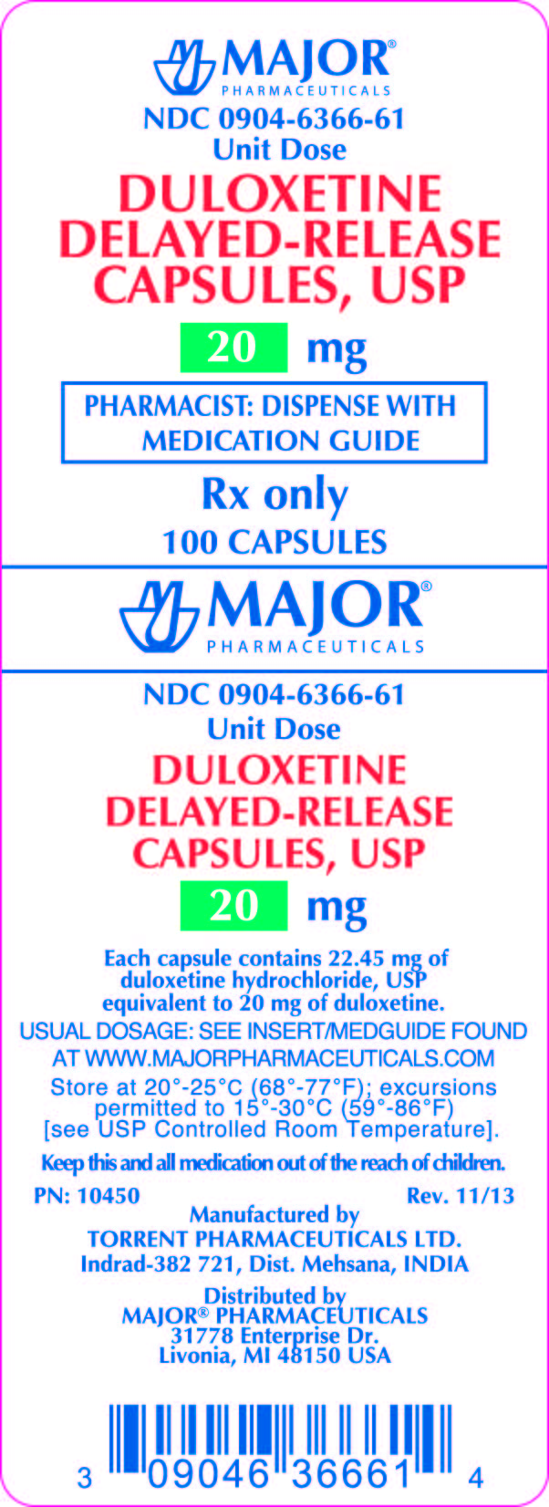 PRINCIPAL DISPLAY PANEL DULOXETINE DELAYED-RELEASE CAPSULES, USP 20MG