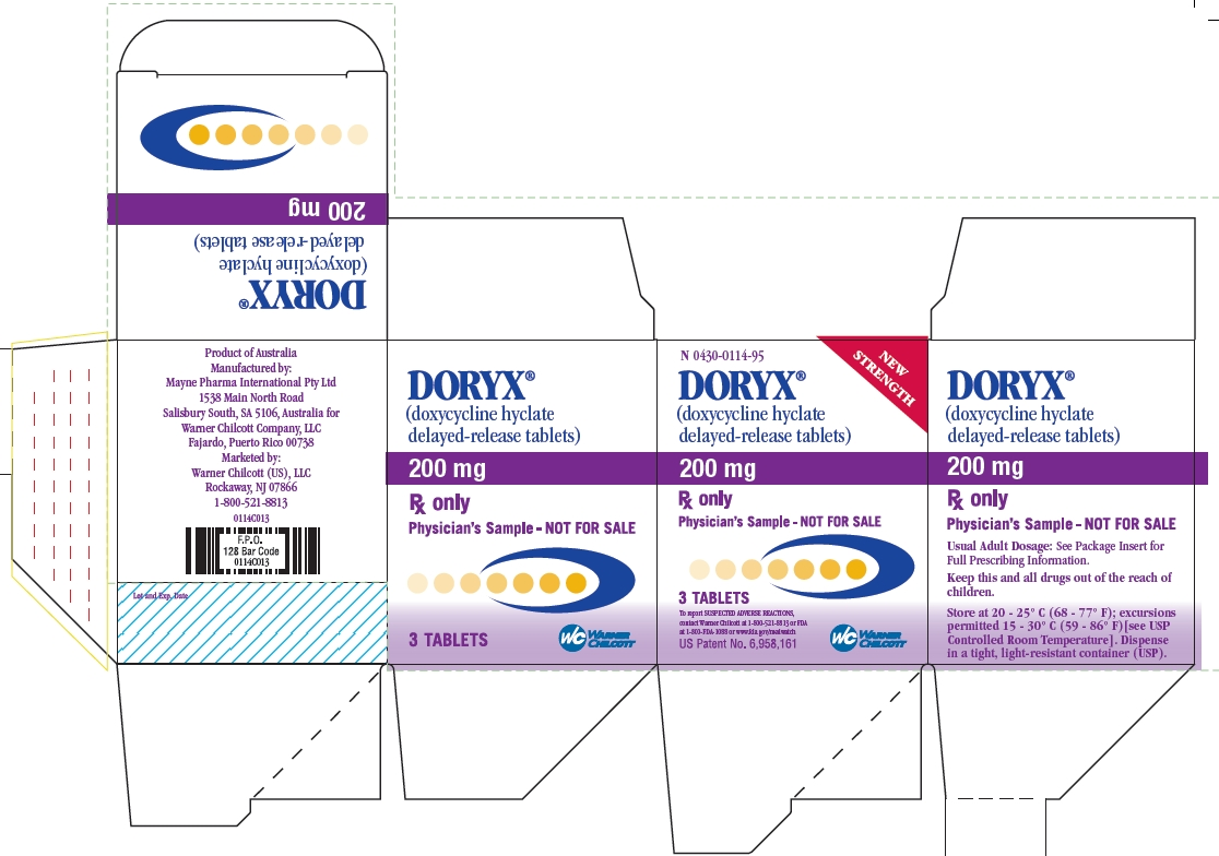 DORYX 200 MG Sample Carton Label