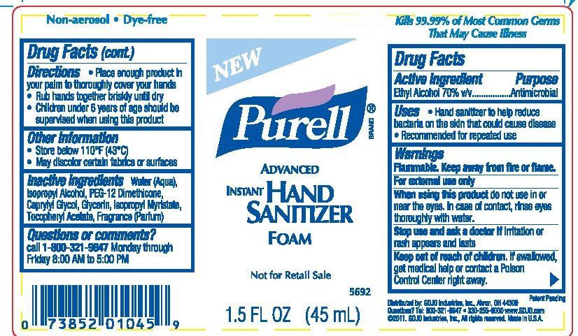 Instant Ocean Ingredients : Purell advanced instant hand sanitizer by gojo industries
