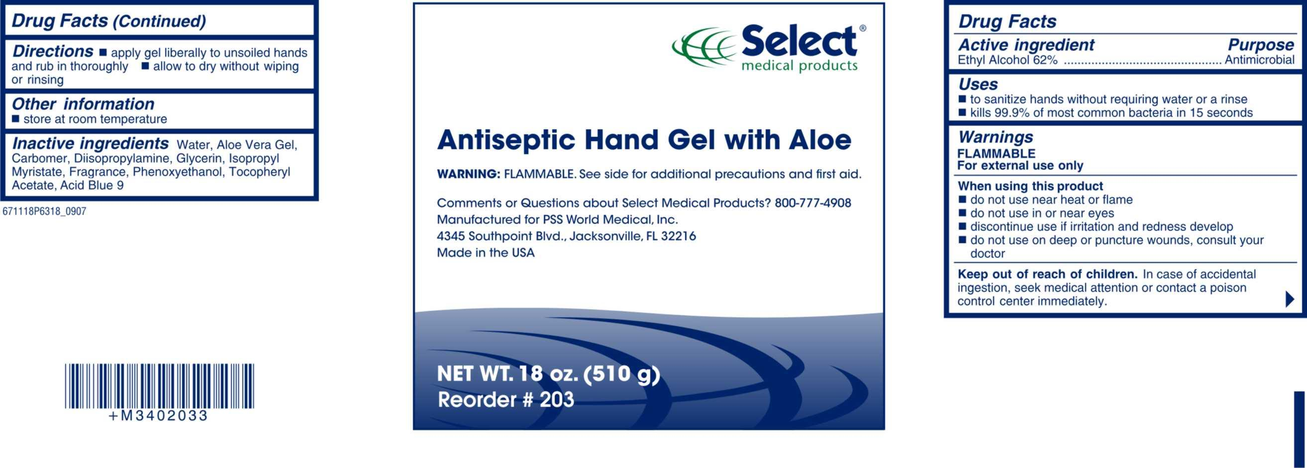 Antiseptic Hand Gel with Aloe 6711 18oz