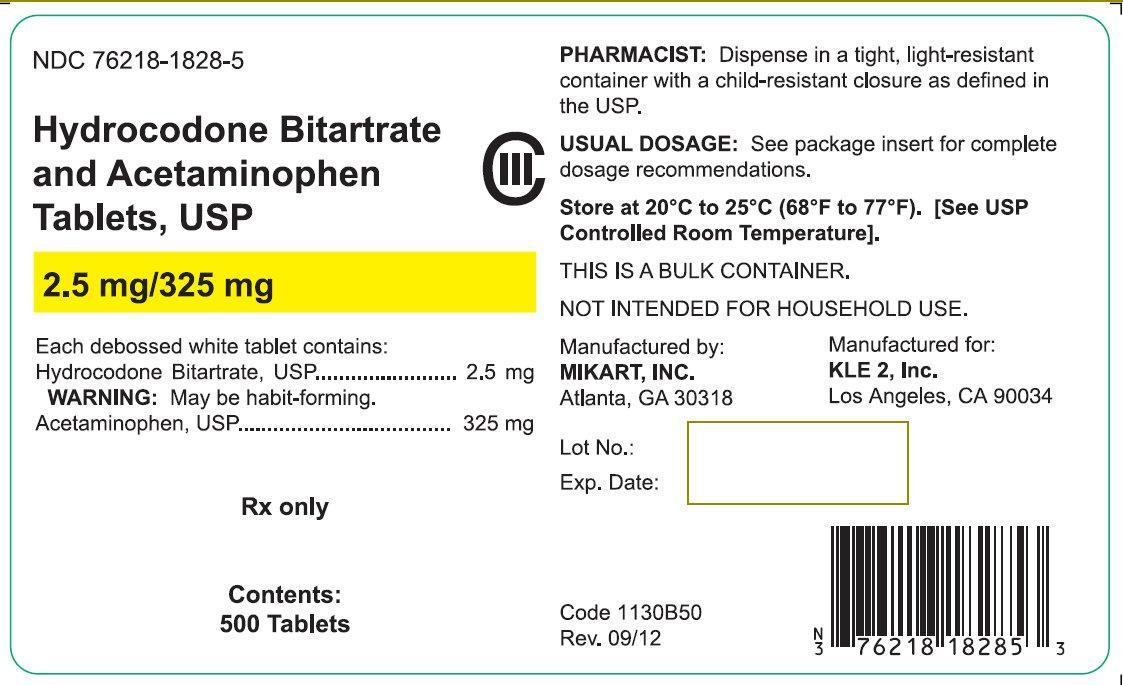 Hydrocodone Bitartrate & Acetaminophen Tablets, USP 2.5ml/325mg 100 tablets (76218-1828-1)| Hydrocodone Bitartrate & Acetaminophen Tablets, USP 2.5ml/325mg 500 tablets (76218-1828-5)