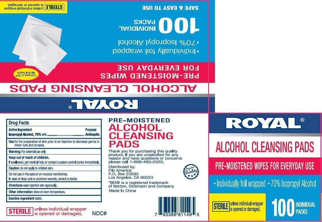 ROYAL ALCOHOL CLEANSING PADS 100 Packs (50438-000-00)