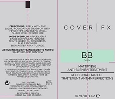 COVER FX BB GEL CARTON LABEL COVER FX BB GEL TUBE LABEL COVER FX BB GEL SHADE LABELS - 2 SHADES