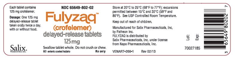 PACKAGE LABEL - PRINCIPAL DISPLAY - FULYZAQ 125 mg Tablets, 60 Tablets Bottle Label