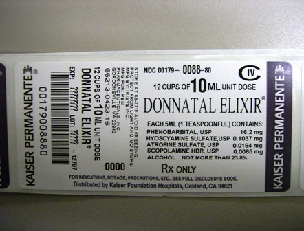 Donnatal Elixir Unit Dose Box Label