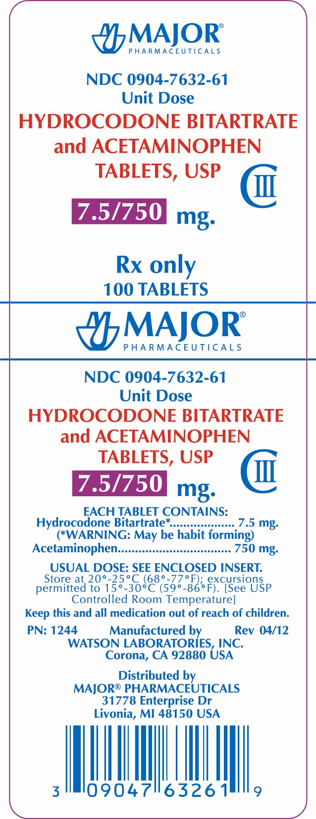 PRINCIPAL DISPLAY PANEL HYDROCODONE BITARTRATE AND ACETAMINOPHEN TABLETS USP 7.5/750MG